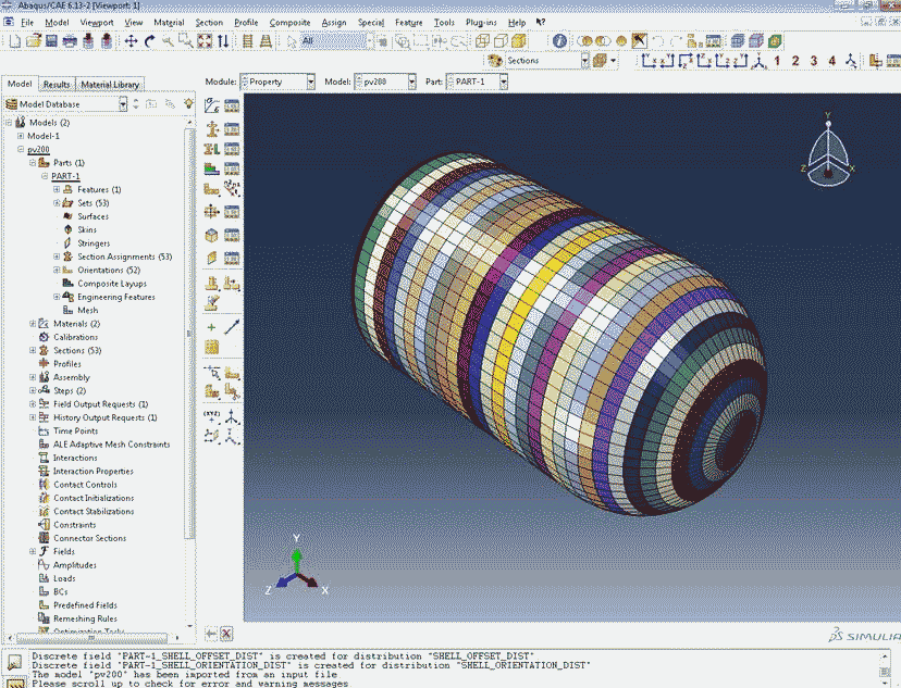 Cadfil Model of Pressure Vessel imported into ABAQUS